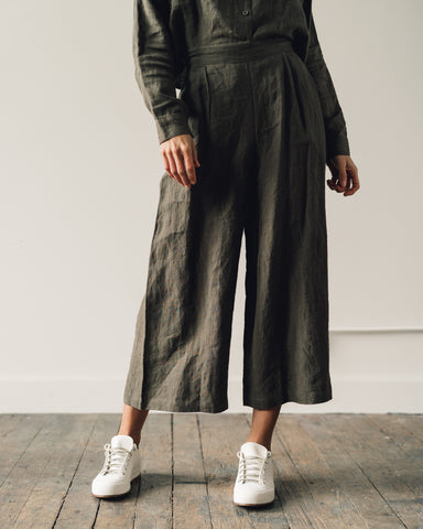 7115 Crop Wide Leg Trouser, Moss