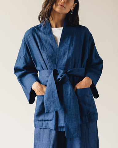 7115 Linen Spring Two Way Jacket, Indigo