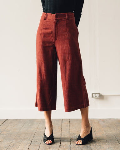 7115 Linen Wide-Legged Cropped Trouser, Rust
