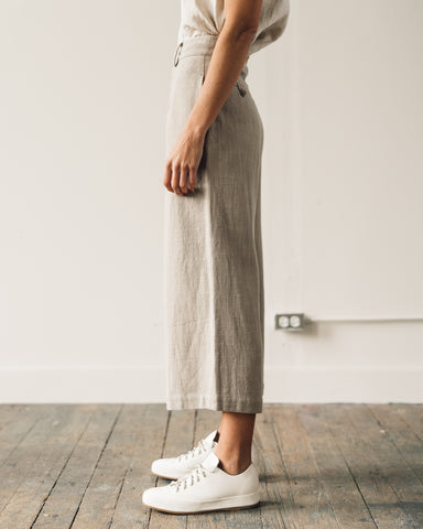 7115 Linen Wide-Legged Cropped Trouser, Sand