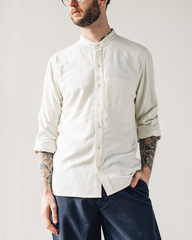 7115 Men's Mandarin Longsleeve, Off-White