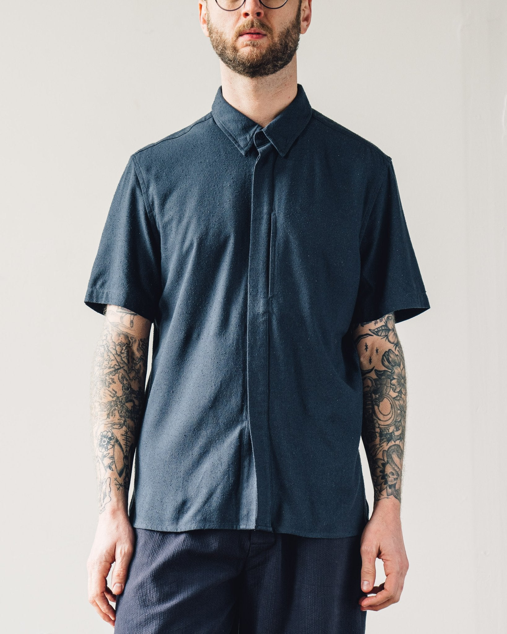 7115 Men's Short Sleeve Side Pocket Shirt, Navy
