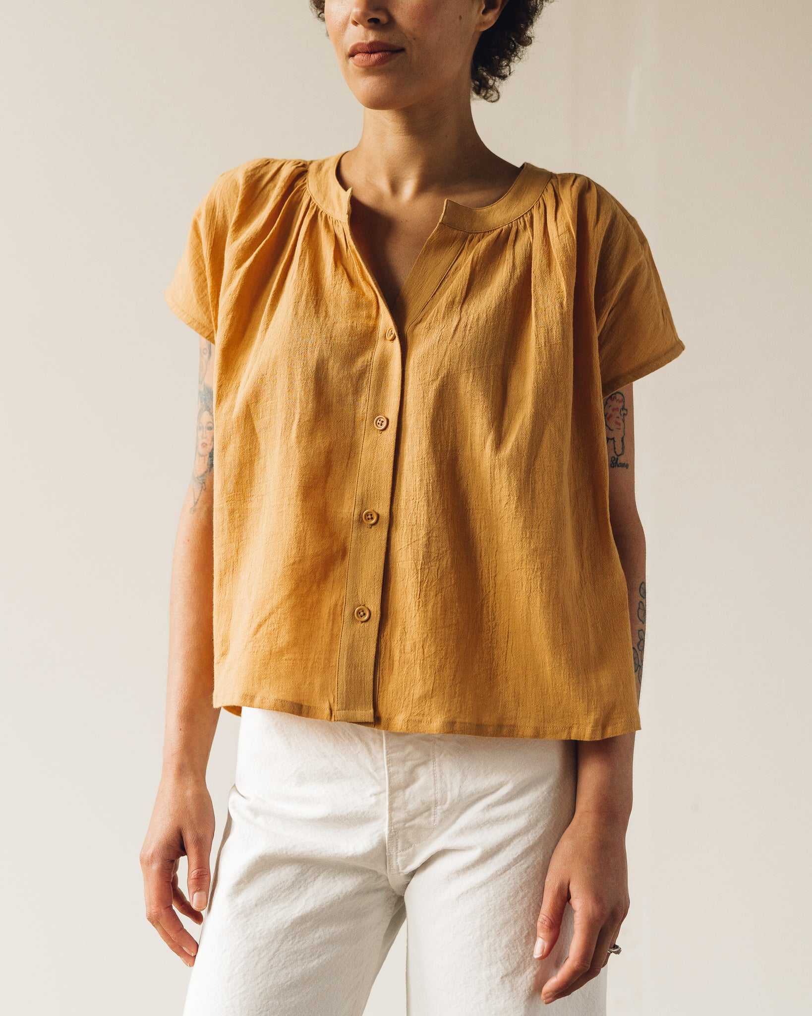 7115 Pleated Button Down, Golden Yellow