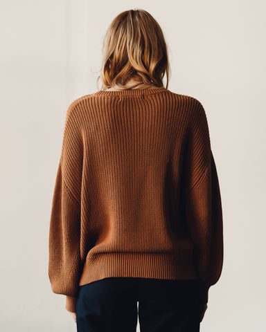 7115 Poet Sleeves Ribbed Sweater, Rust