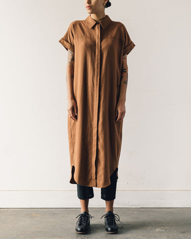 7115 Signature Shirt Maxi Dress, Rust