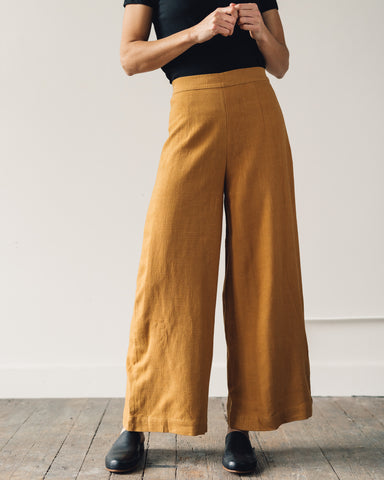 7115 Linen Wide-Legged Trouser, Sienna