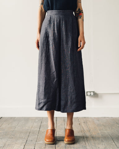 7115 Linen Cropped Wide-Legged Trouser, Slate Gray