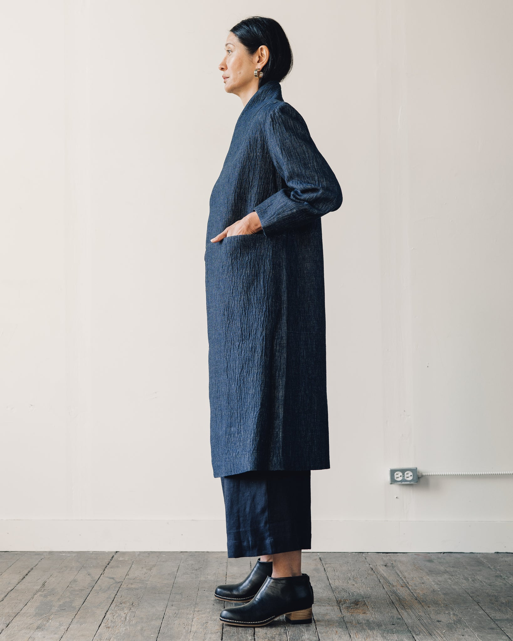 7115 Open Fall Coat, Indigo