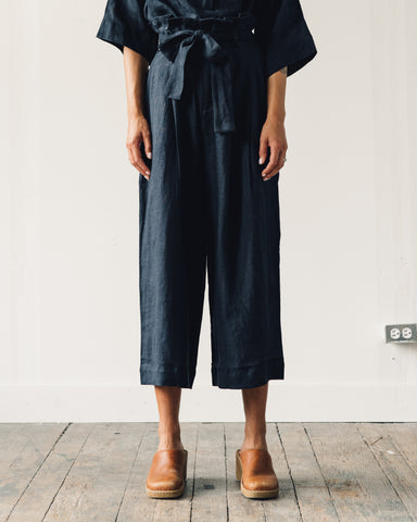 7115 Pleated Linen Trouser, Navy