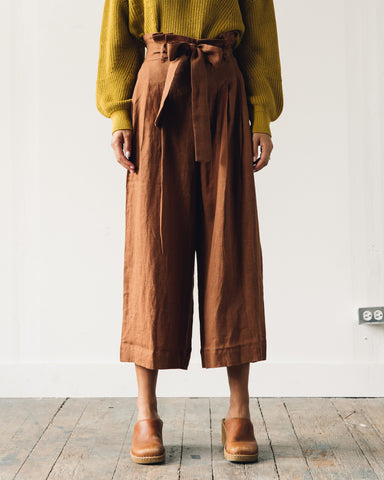 7115 Pleated Linen Trouser, Rust