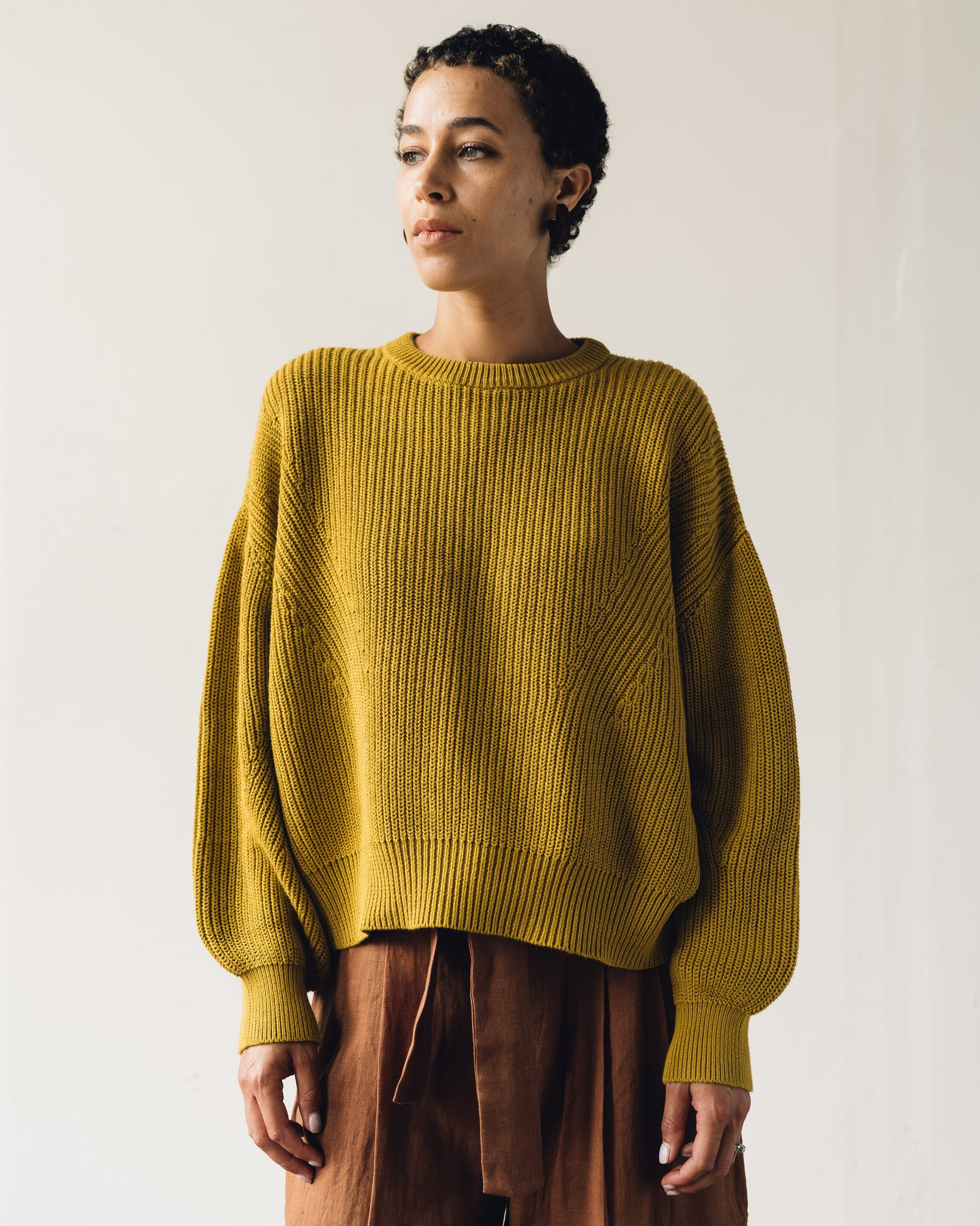7115 Poet Sleeves Sweater, Chartreuse
