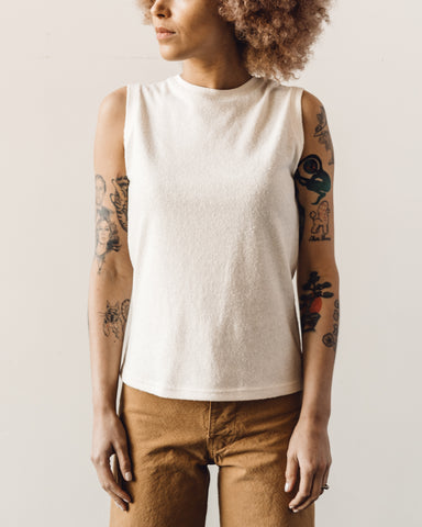 7115 Linen Textured Tank Tee, Off-White