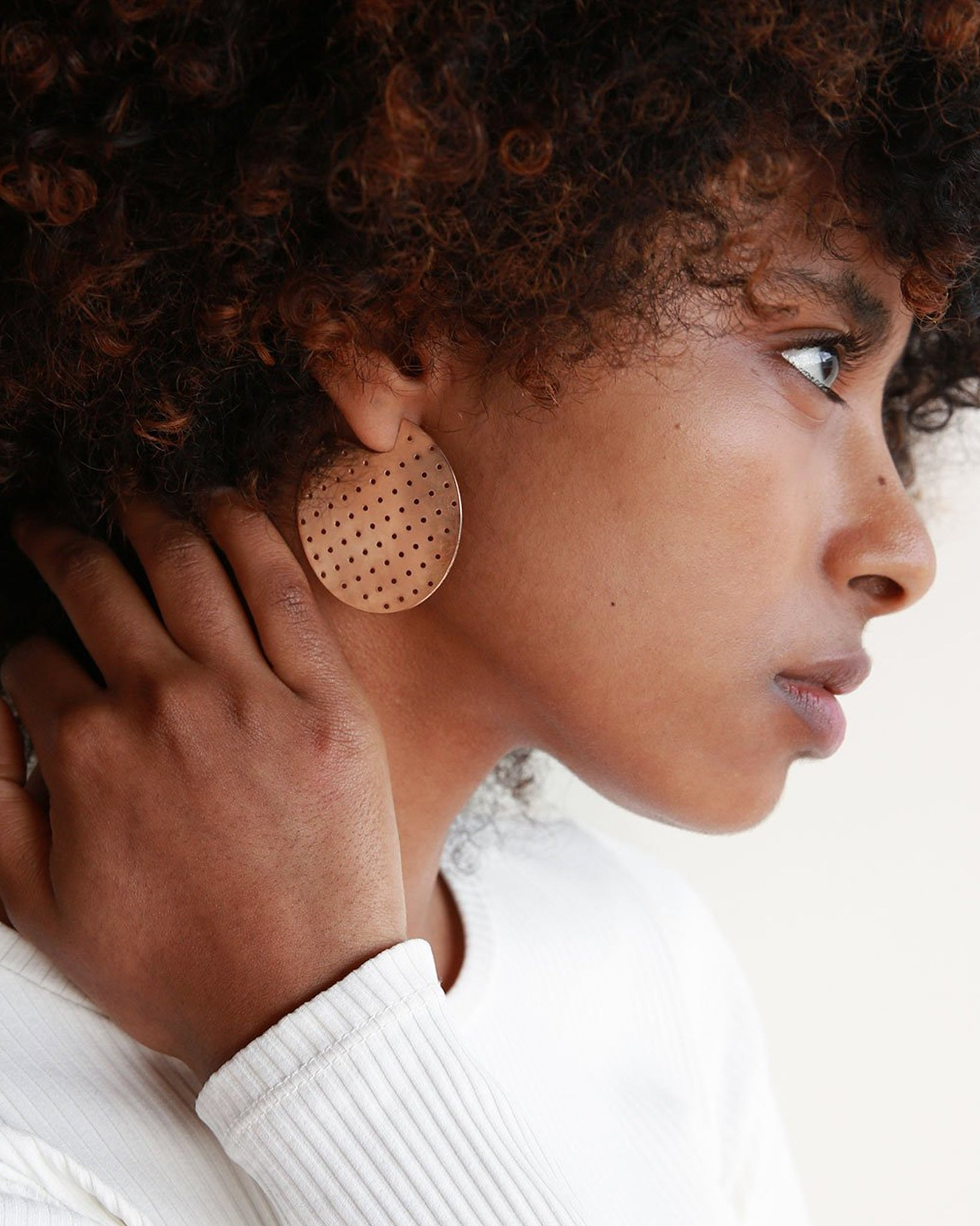 Minoux Bronze Perforated Hoop Earrings