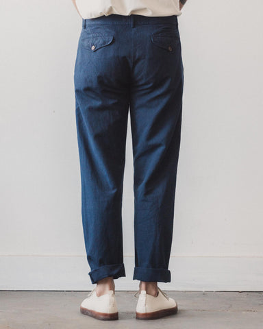 Universal Works Linen Aston Pant, Navy