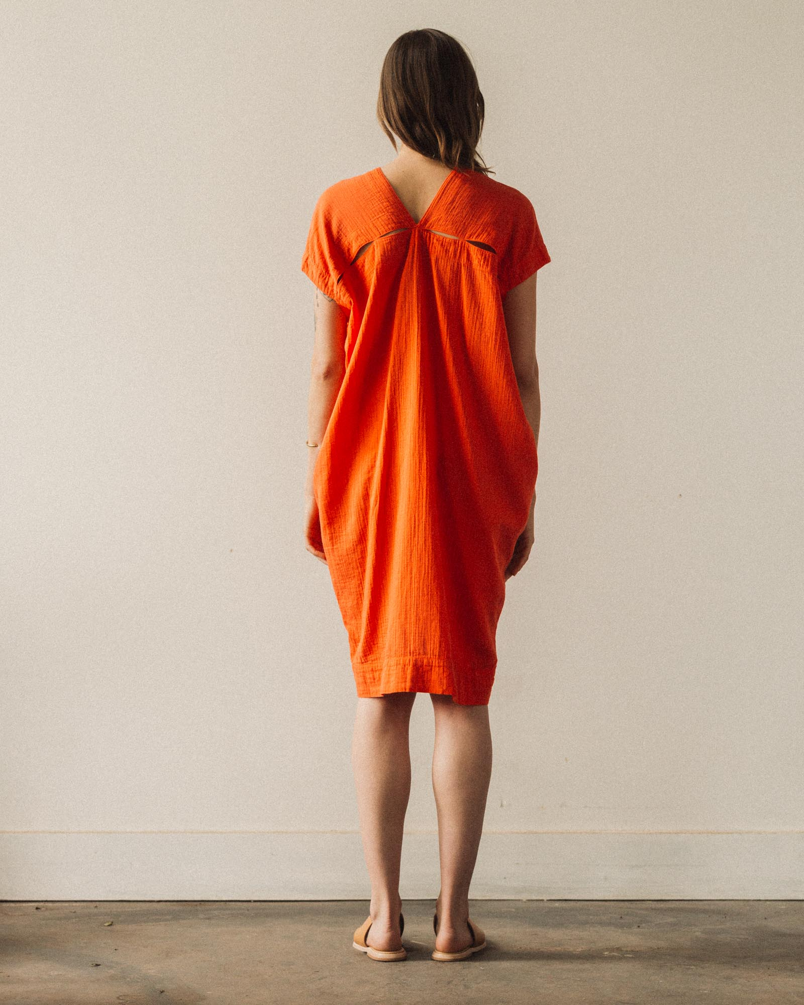 Delphine Crescent Dress, Neon Peach