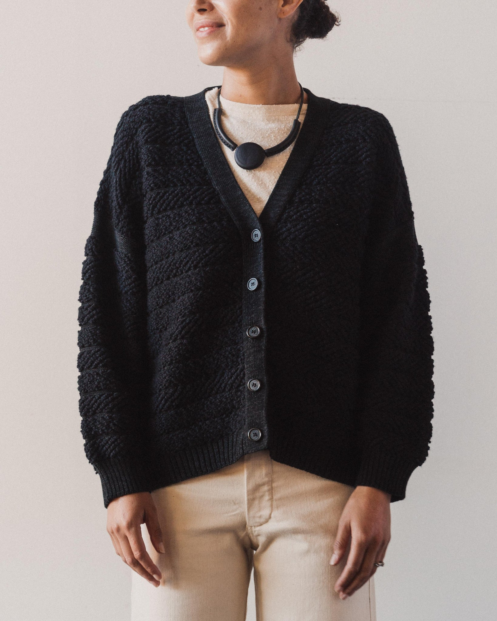 Micaela Greg Loop Cardigan, Melange Black