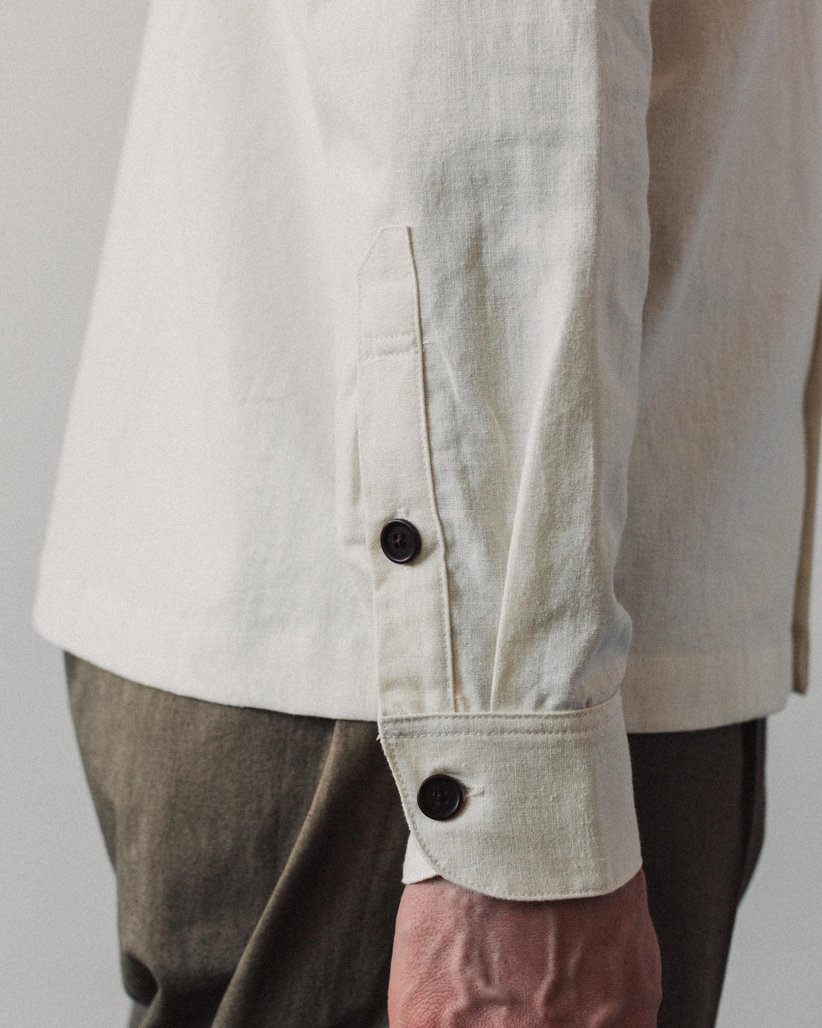 Evan Kinori Flat Hem Shirt, Natural