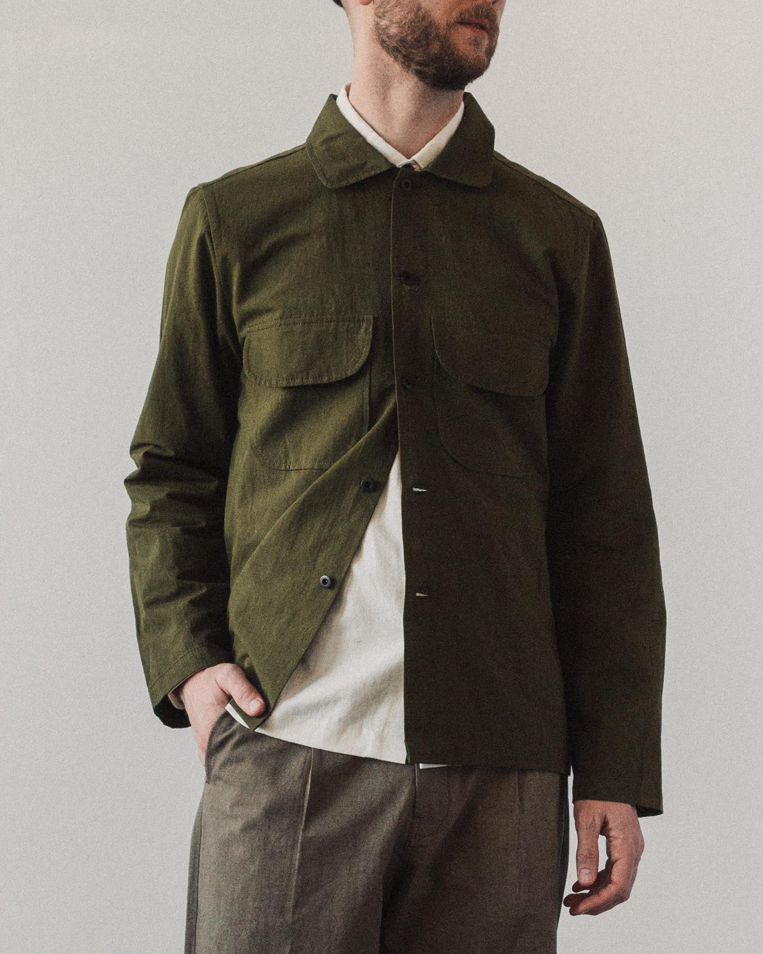 Evan Kinori Field Shirt, Olive