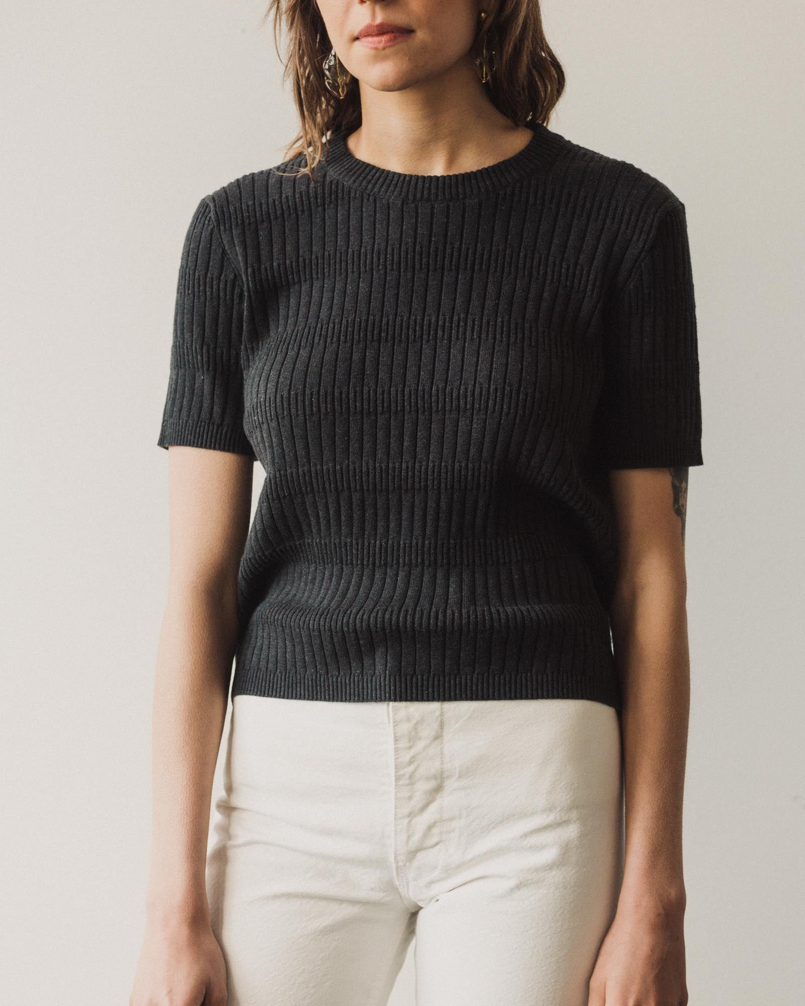 Kowtow Illusion Knitted Tee, Charcoal