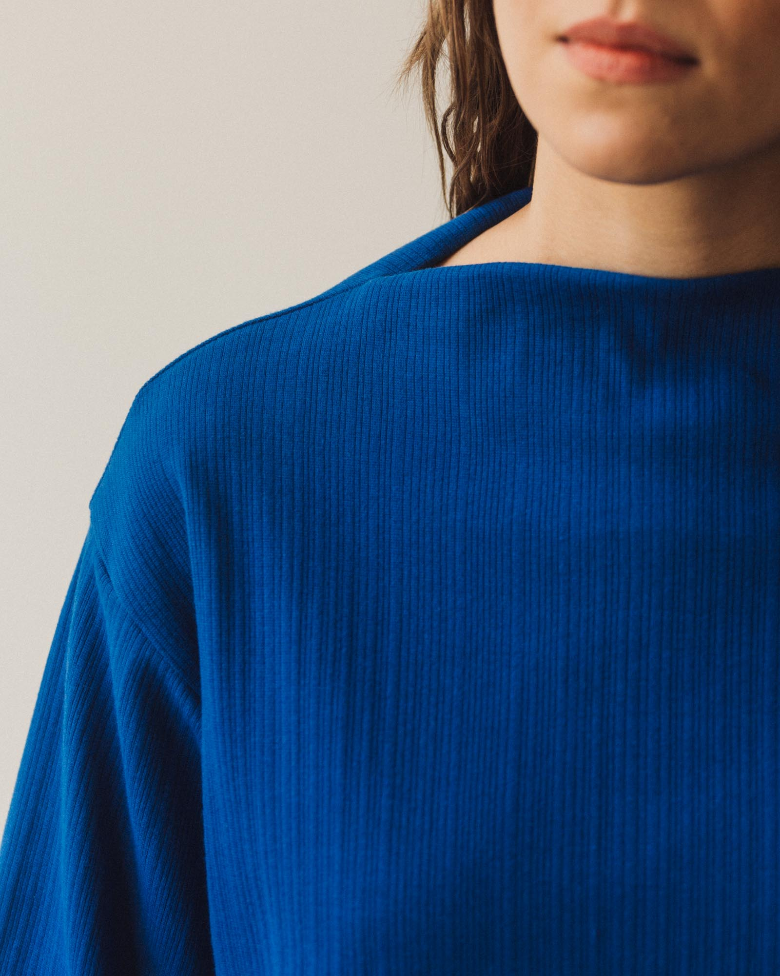 Kowtow Funnel Neck Top, Electric Blue
