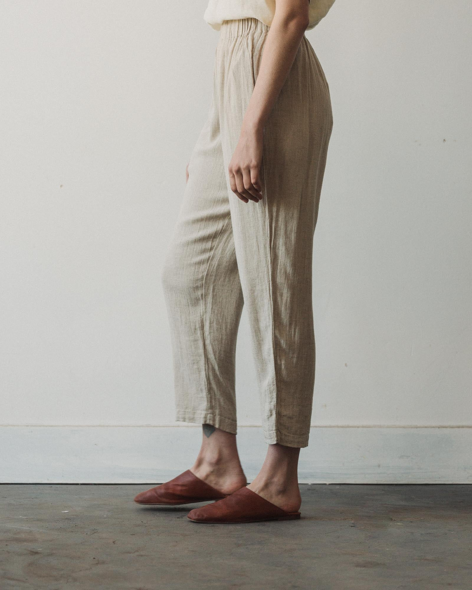 Black Crane Easy Pants, Natural