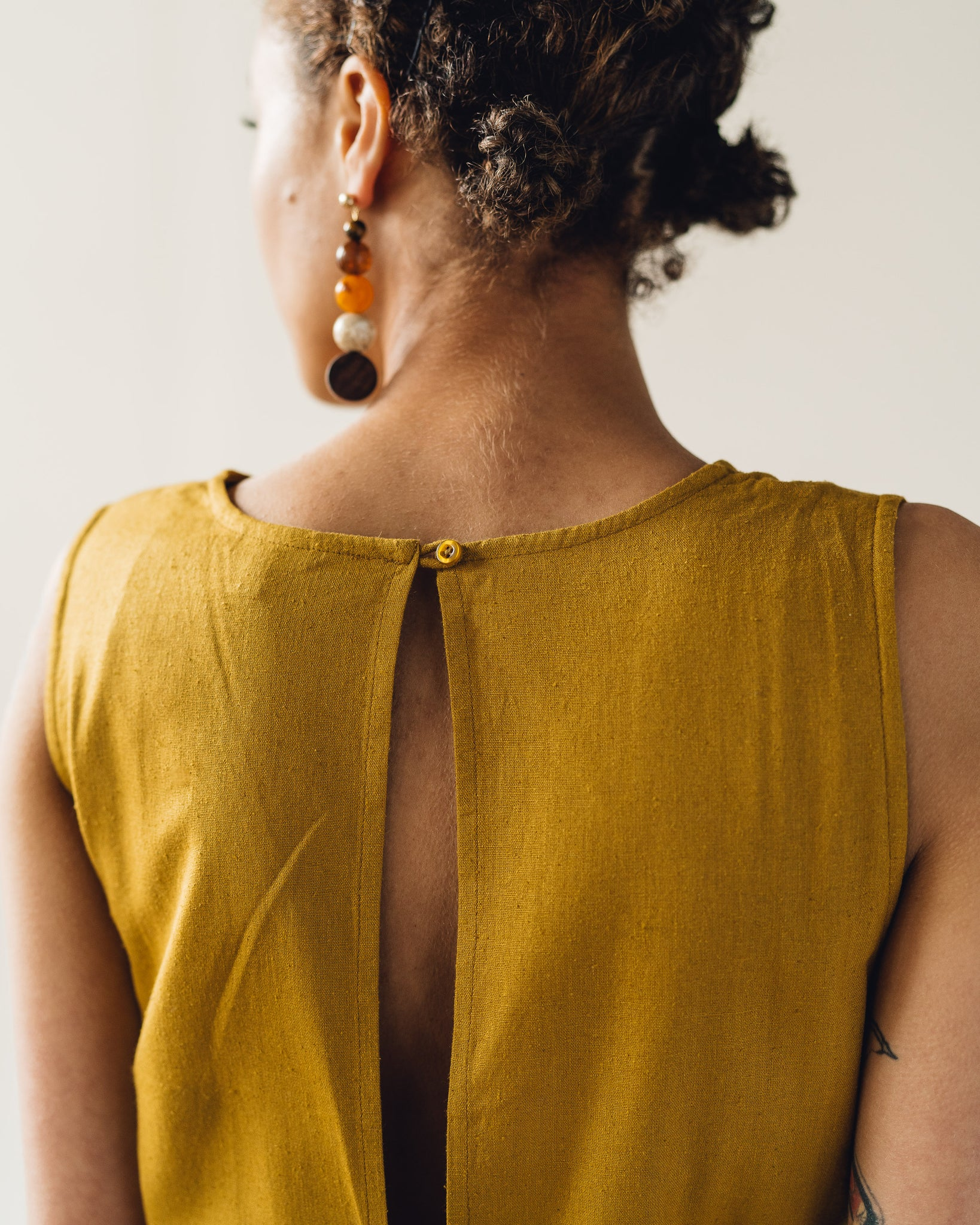 Ali Golden Slit-Back Jumper, Sunflower