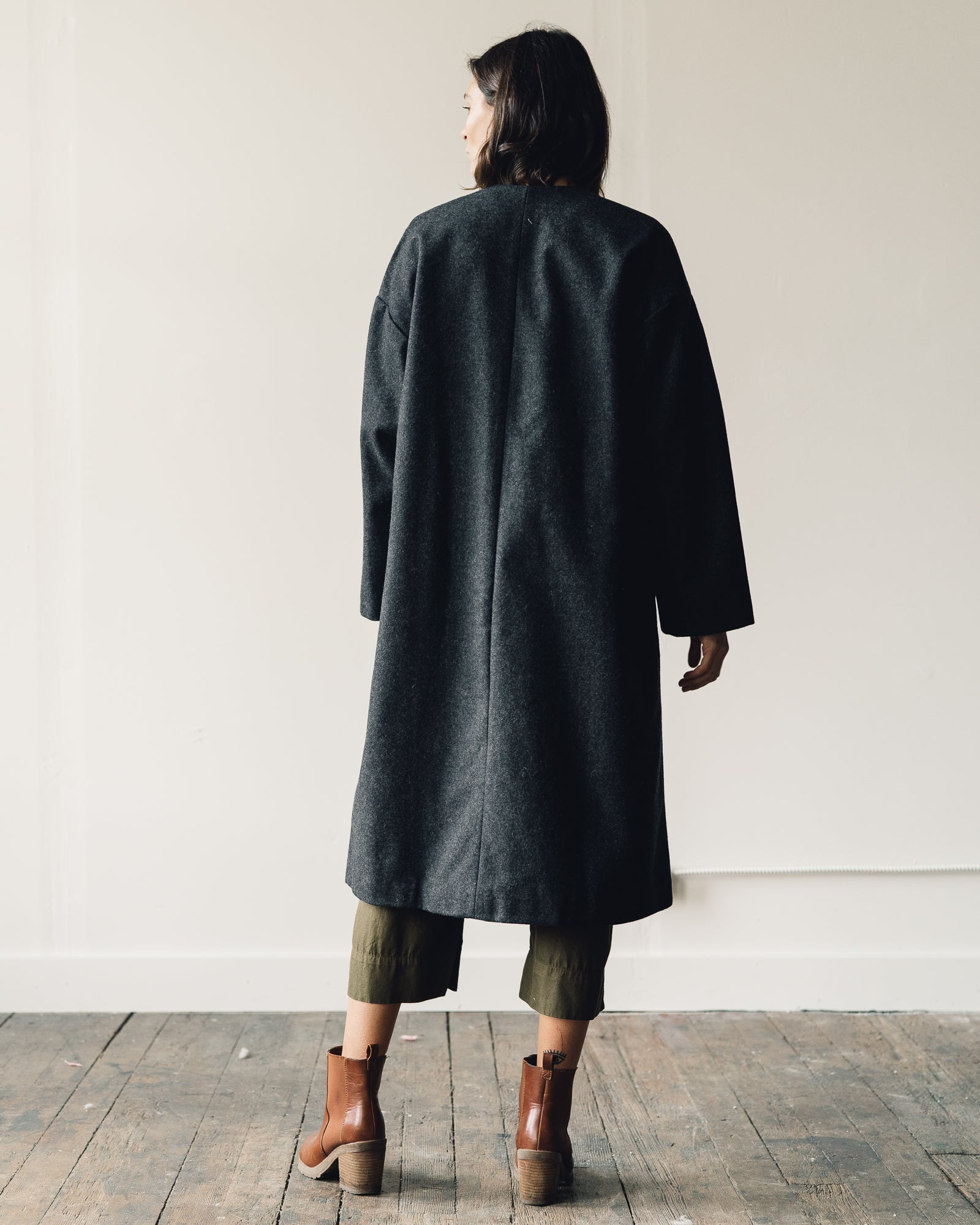 Ali Golden V-Neck Coat, Charcoal