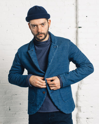 Kapital Fleecy Knit Farm Jacket, Indigo