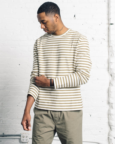 You Must Create X Sweat Shirt, Olive Stripe