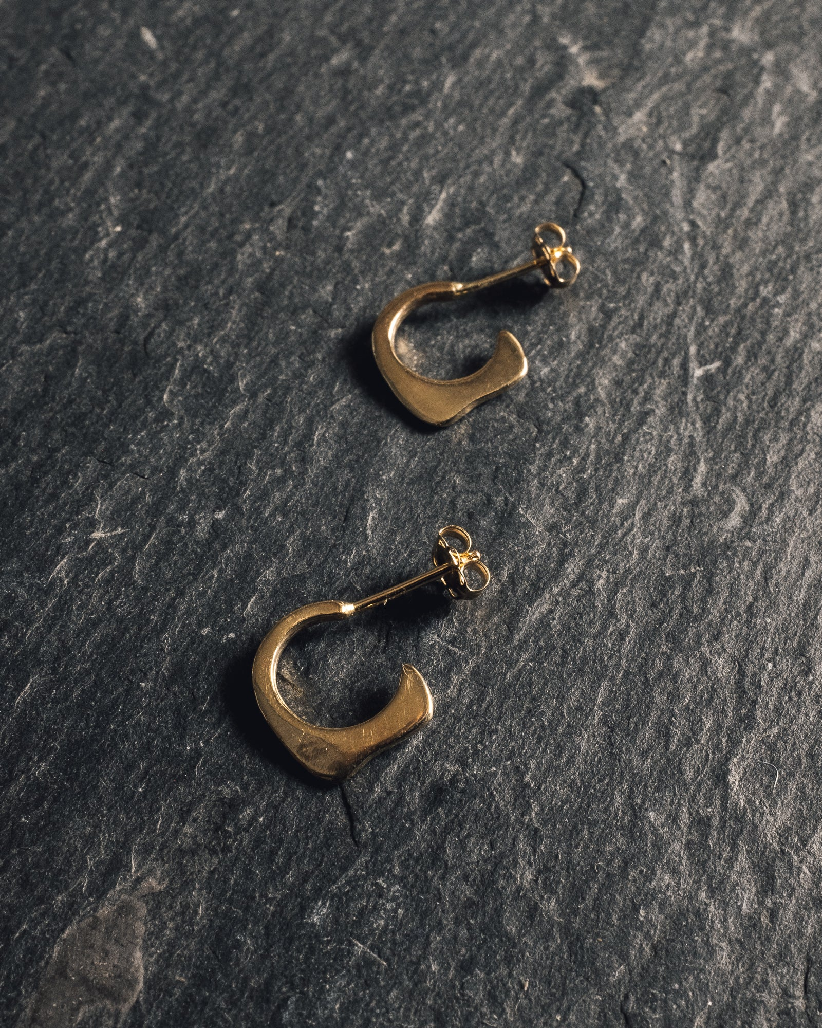 Another Feather Small Fin Hoops, 14K Gold
