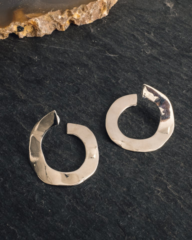 Luiny Irregular Disk Earrings, Silver