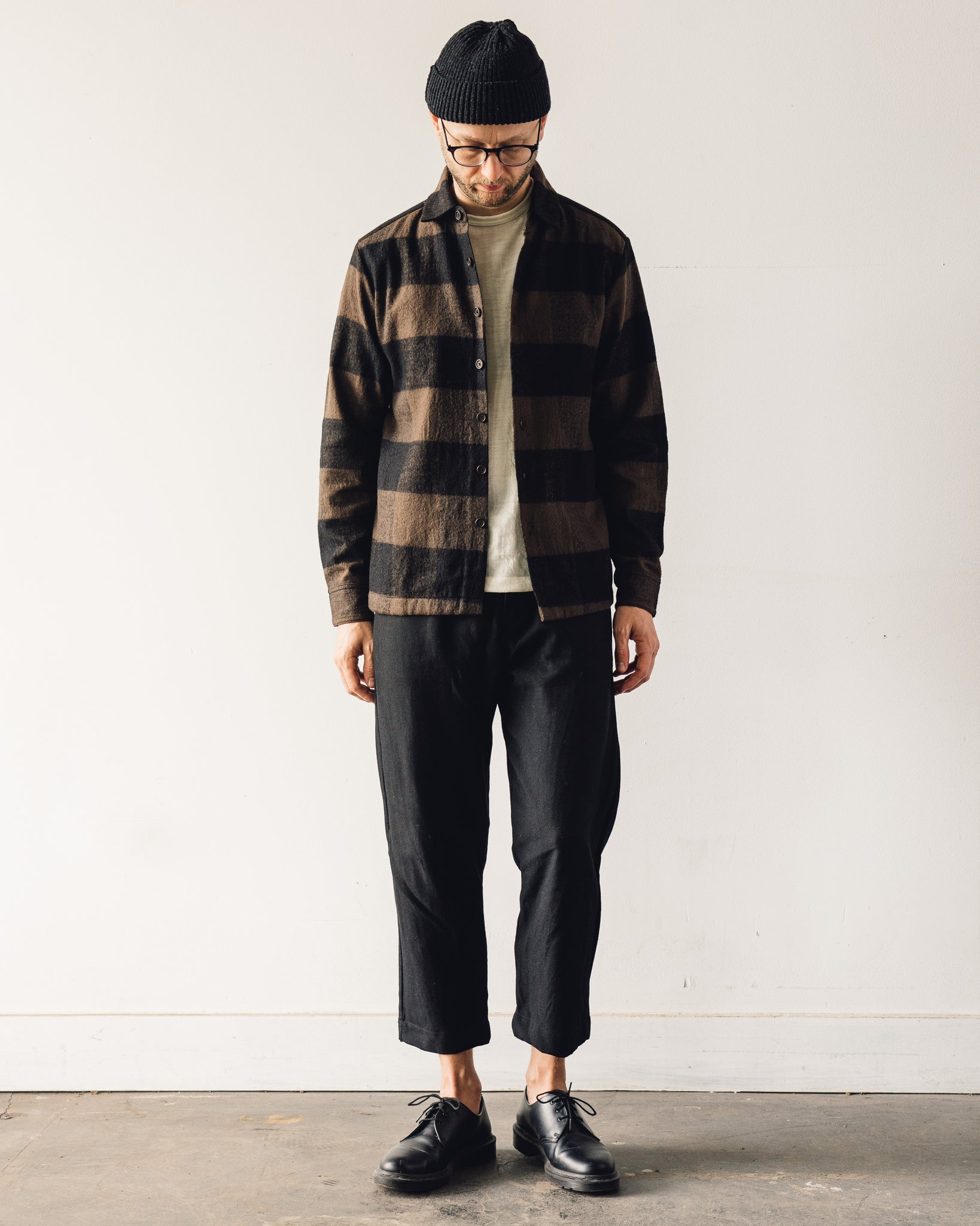 Evan Kinori Flat Hem Shirt Big Check, Brown/Black