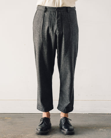 Evan Kinori Single Pleat Pant, Lambswool Charcoal