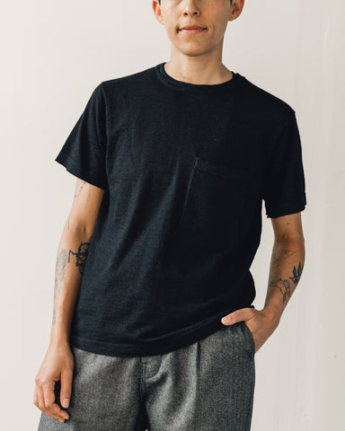 Evan Kinori Pocket Tee Sweater, Black