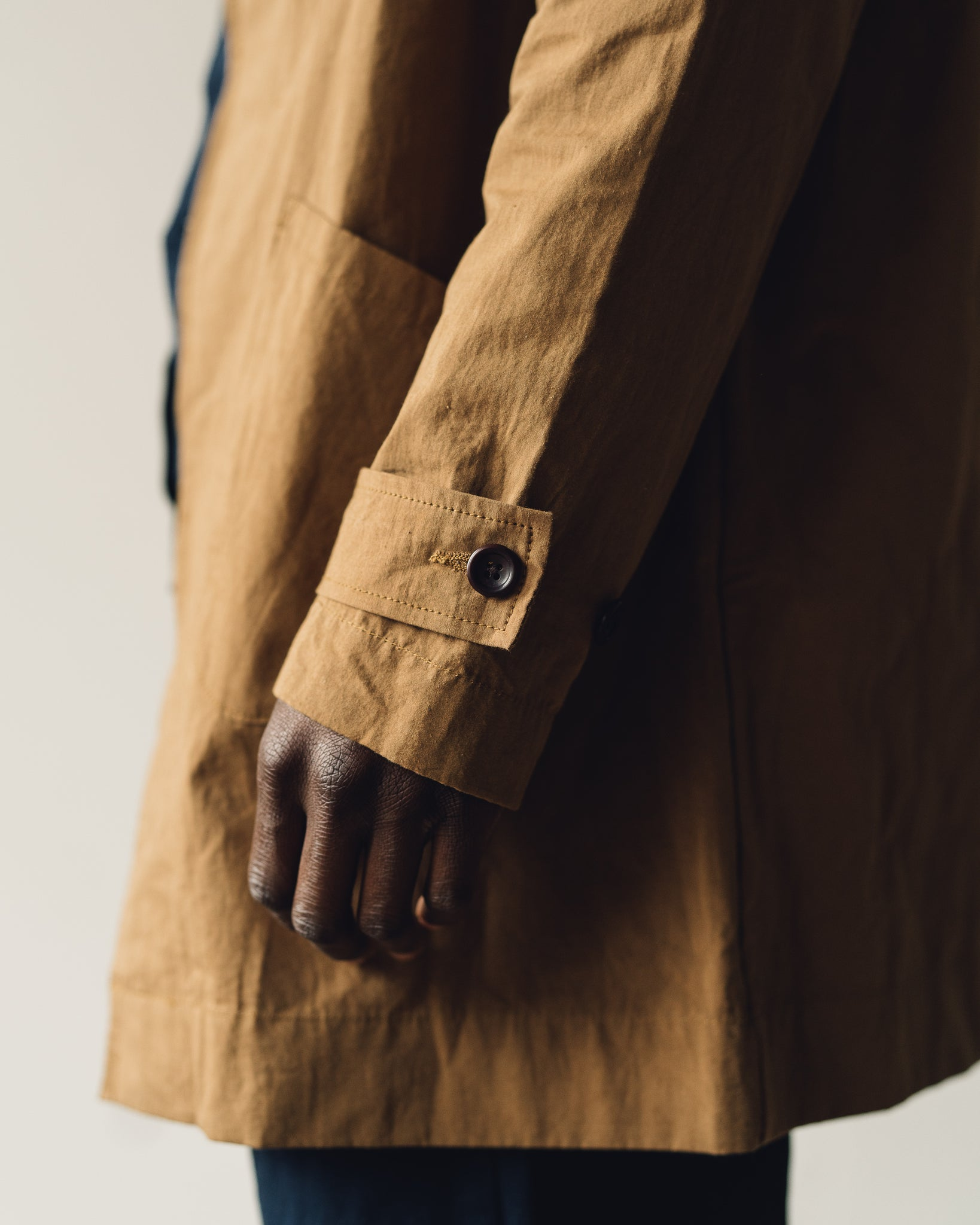 Evan Kinori Covered Placket Coat, Dark Khaki
