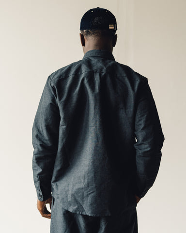 Evan Kinori Two Pocket Shirt, Navy/Grey