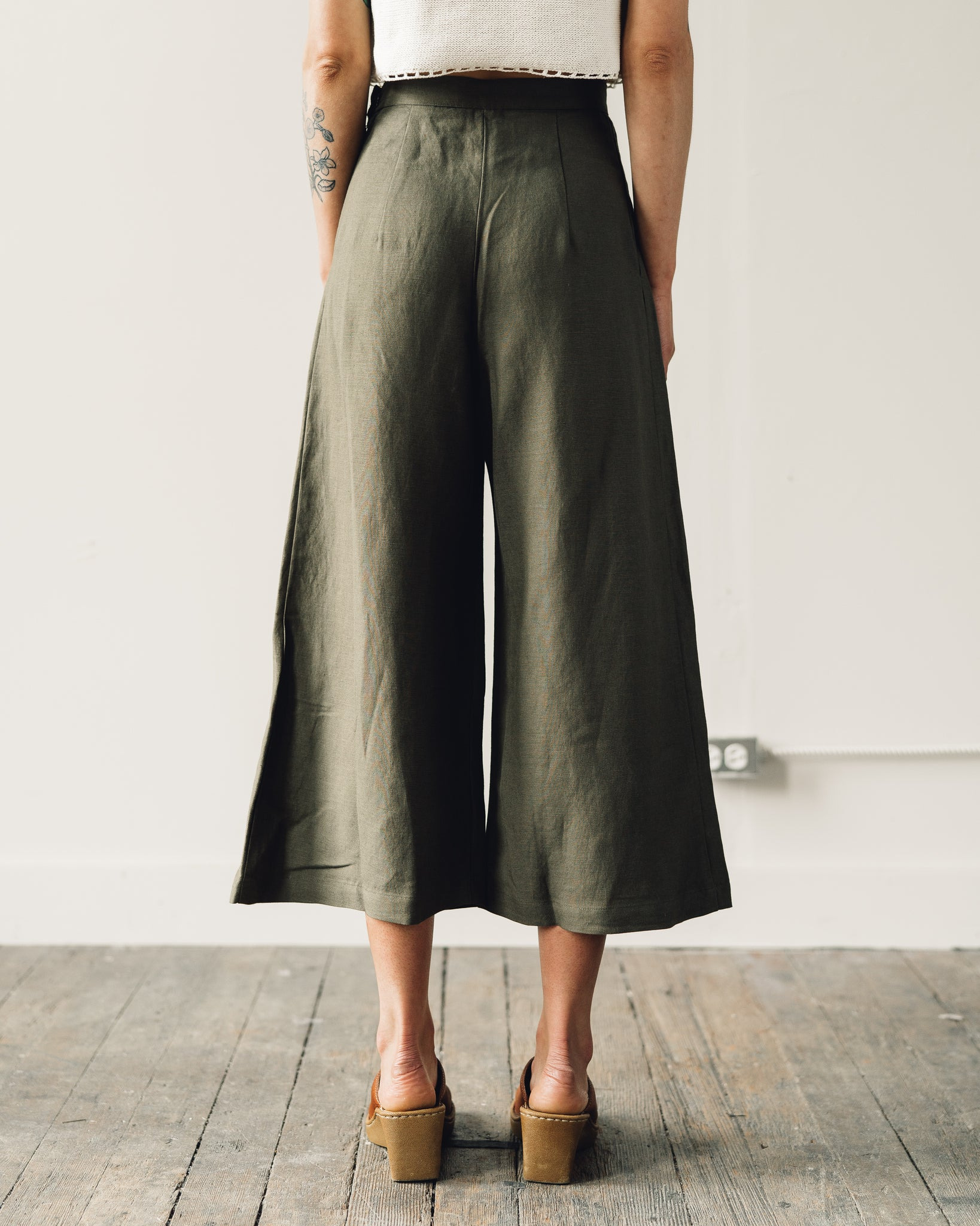 First Rite Crop Culotte, Olive