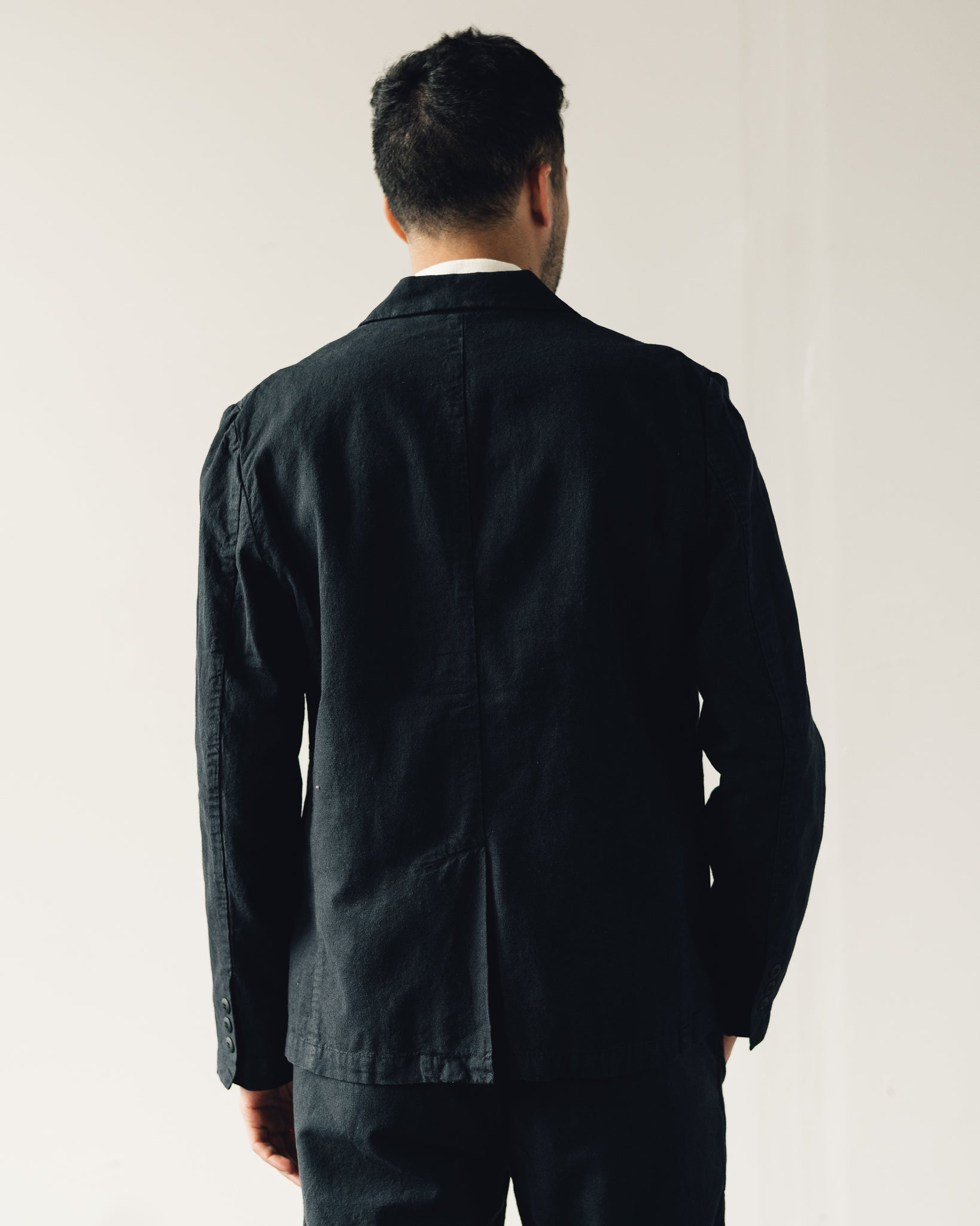 Folk Cotton Linen Blazer, Soft Black