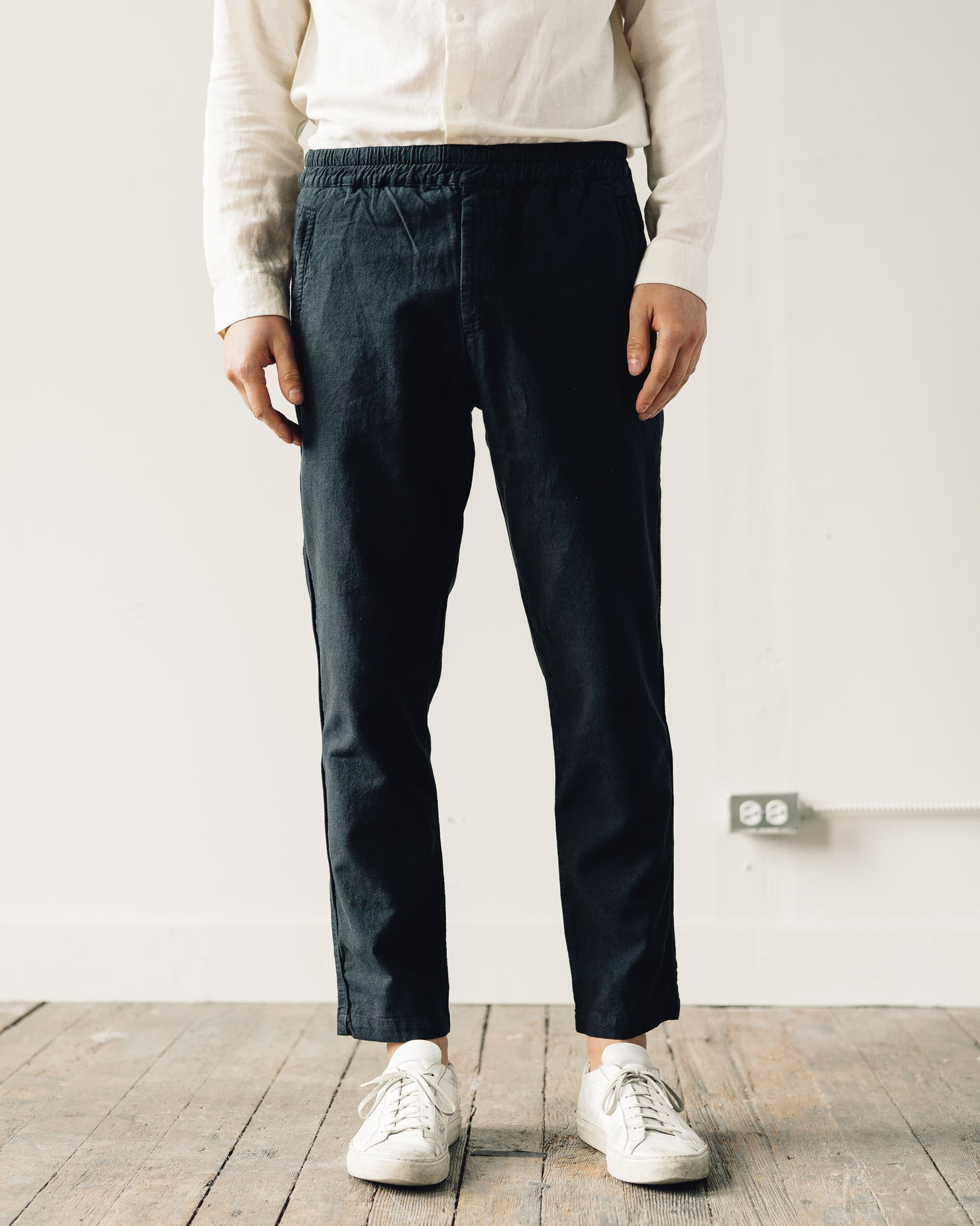 Folk Cotton Linen Trouser, Soft Black