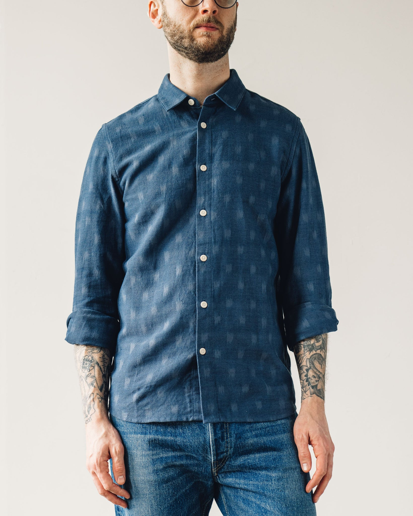 Folk Orb Shirt, Overdye Oxford Grid Ikat