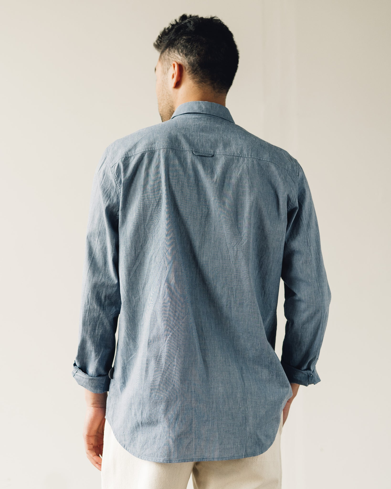 Folk Relaxed Fit Shirt, Blue Texture