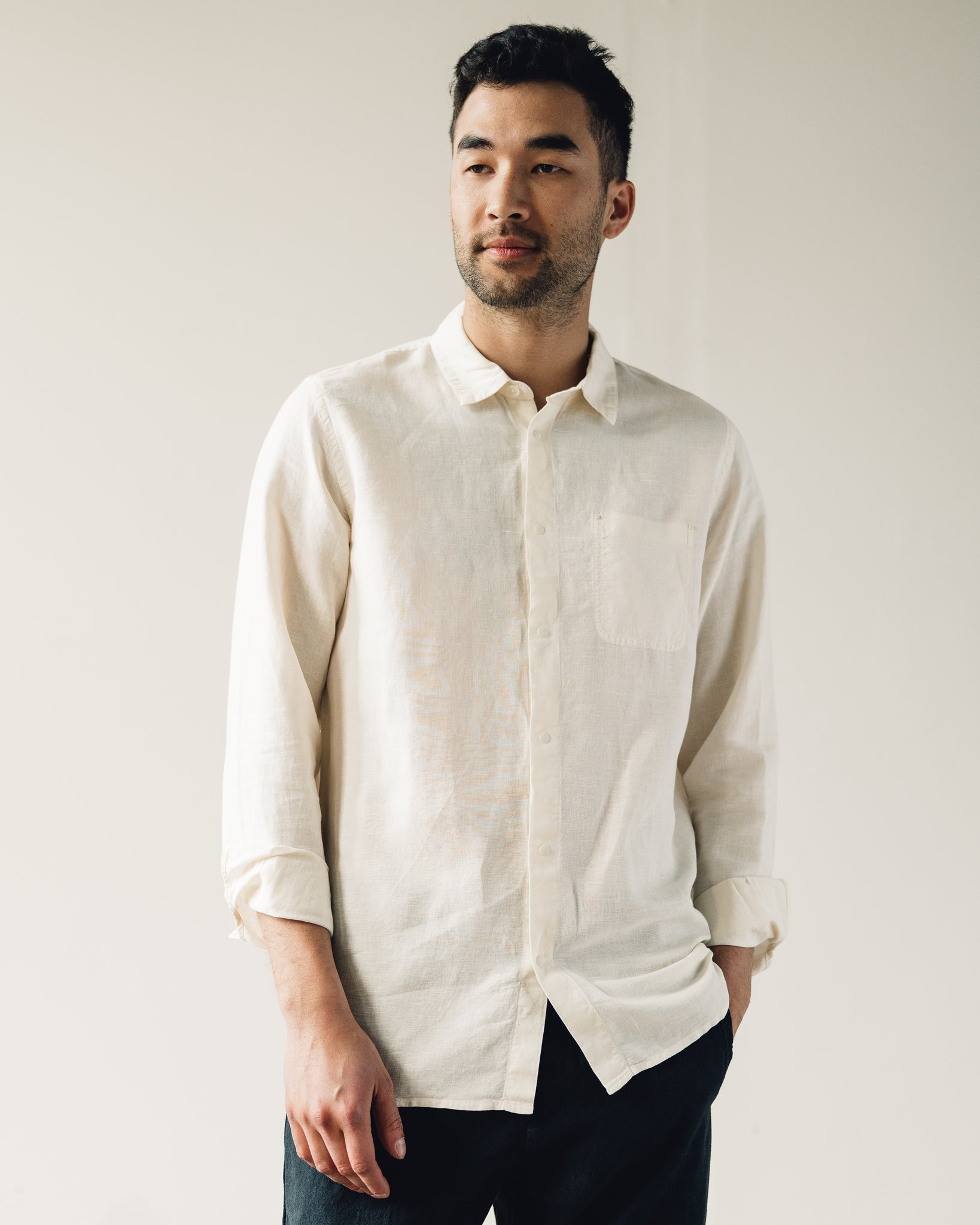 Folk Stitch Pocket Shirt, Stone
