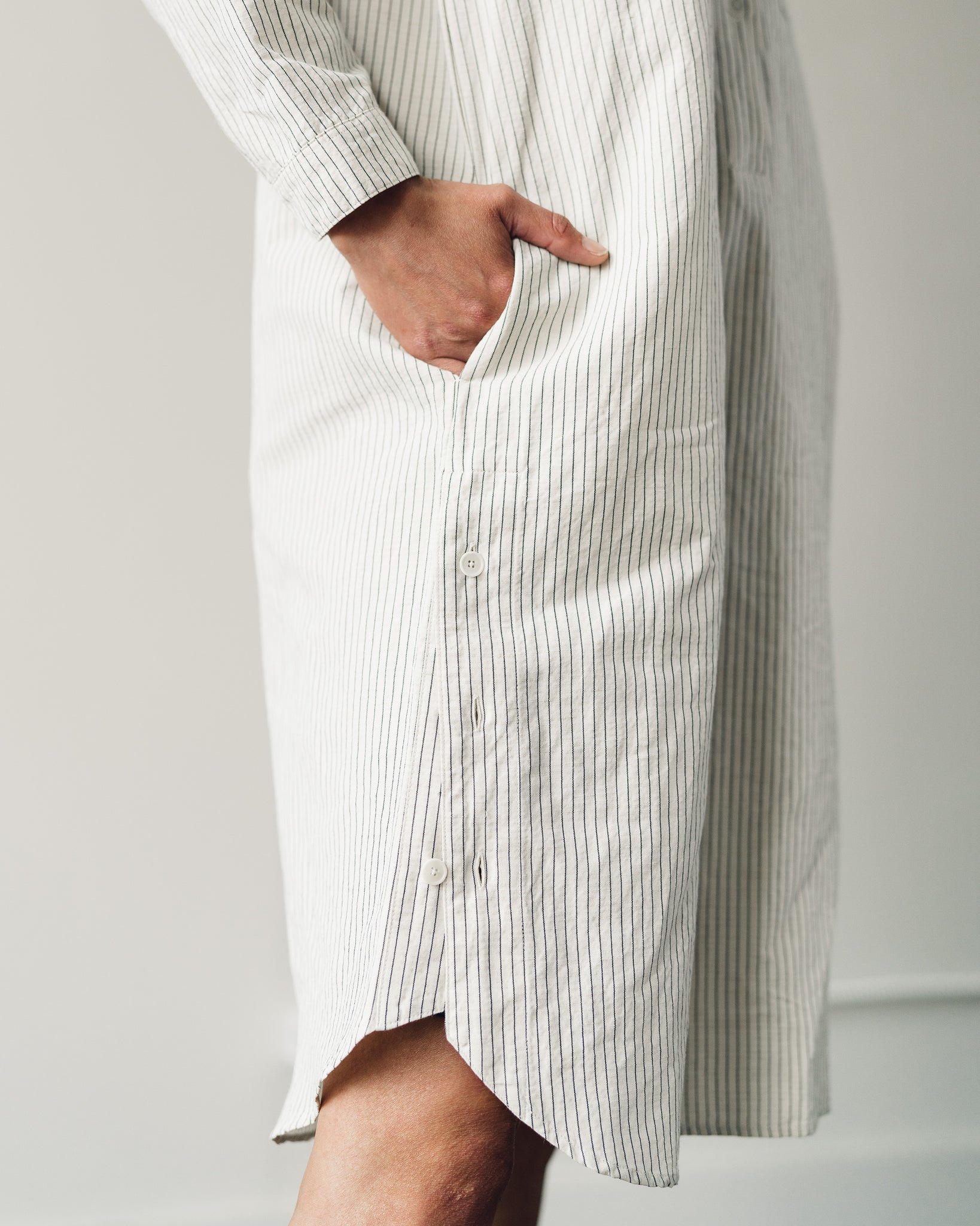 Folk Collarless Shirt Dress, Ecru Black Stripe