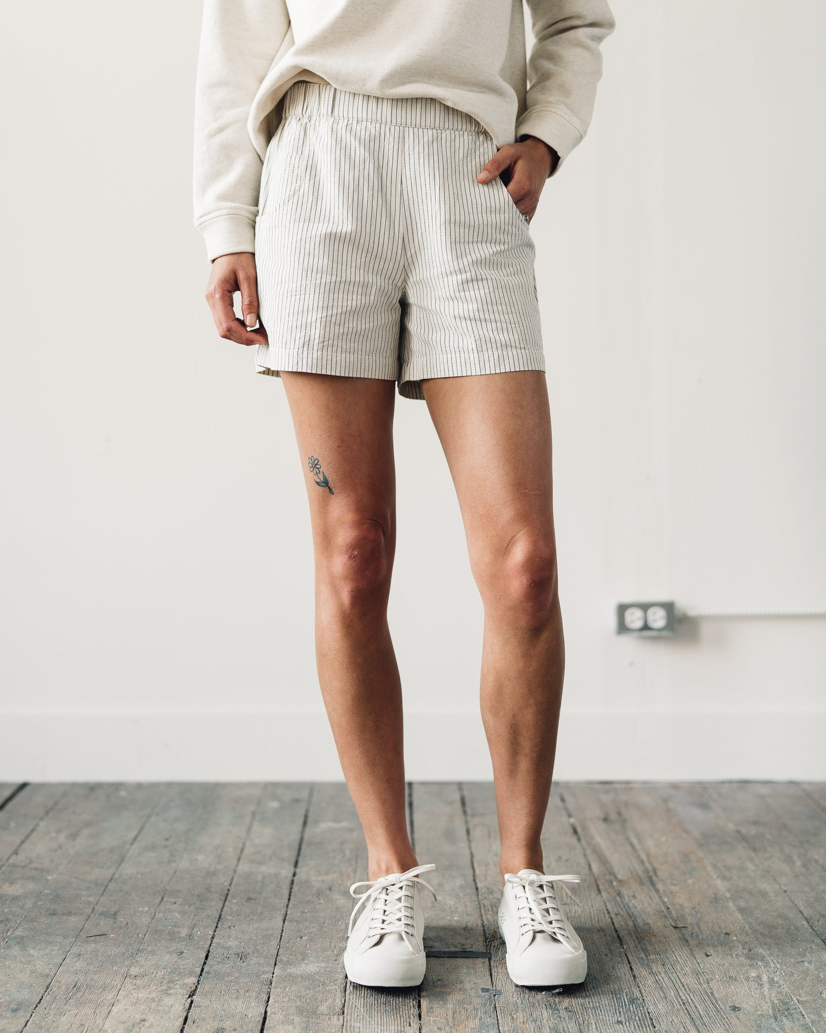 Folk Shorts, Ecru Black Stripe