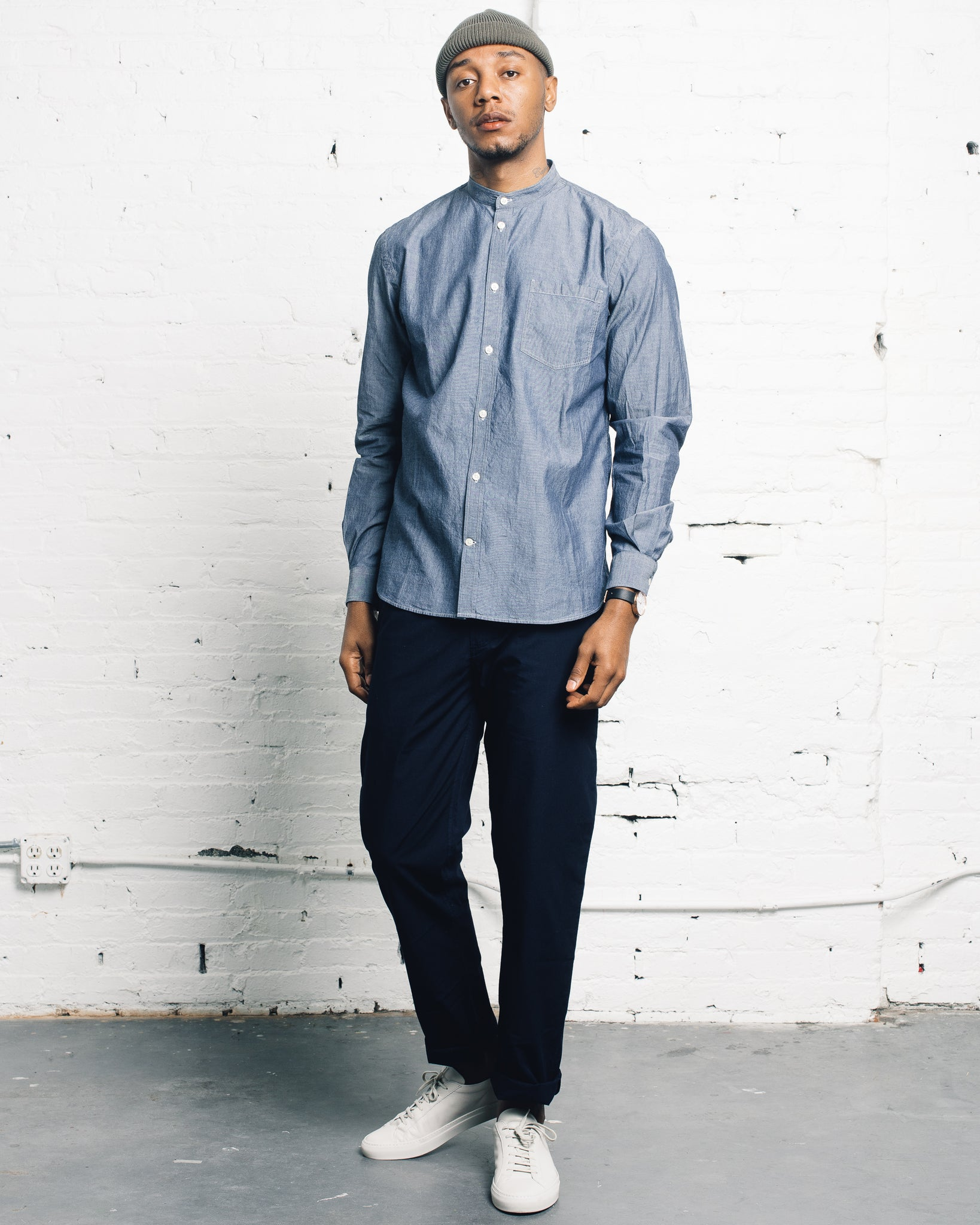 Norse Projects Hans Collarless Chambray