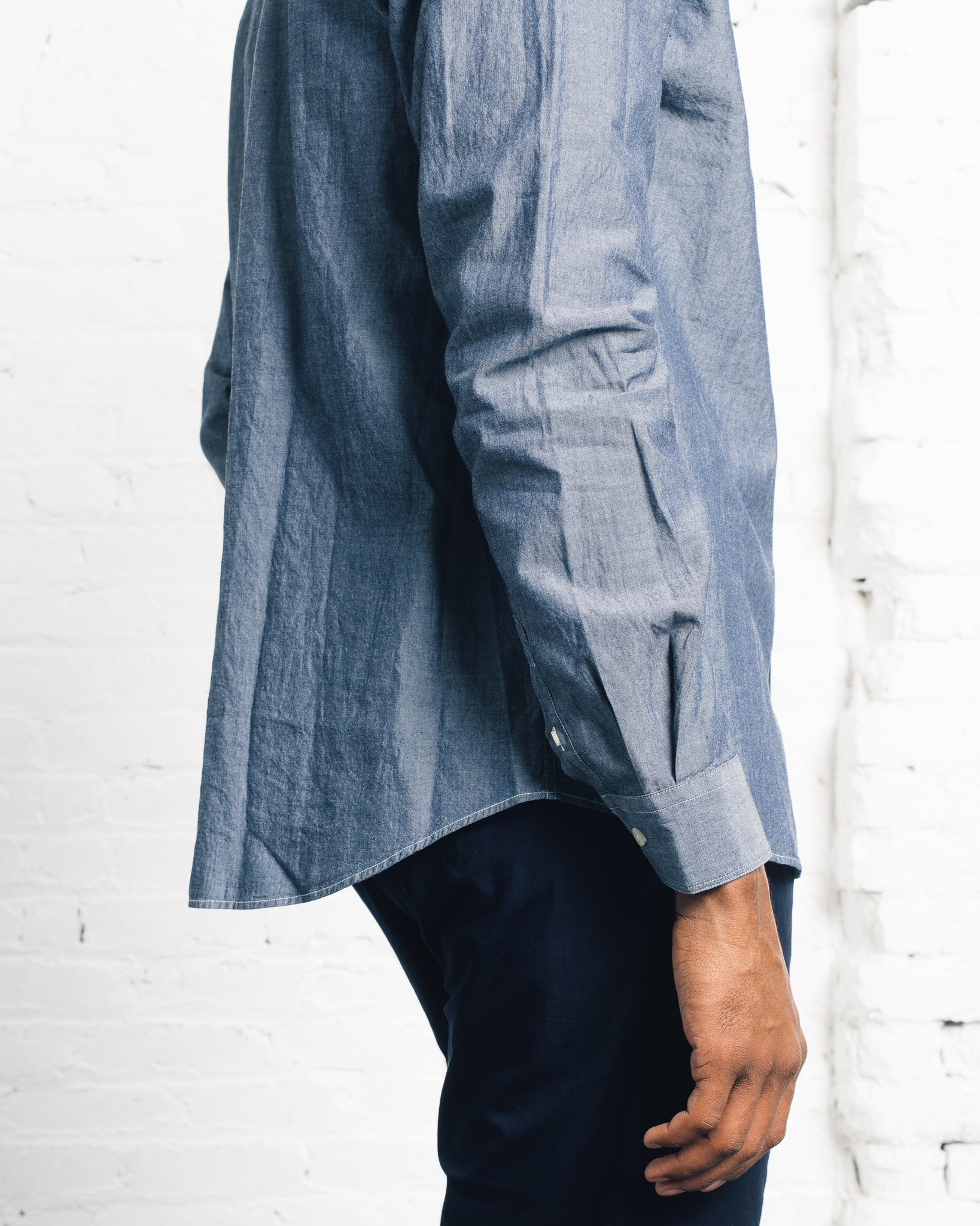 Norse Projects Hans Collarless Chambray, Light Indigo