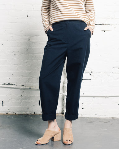 Norse Projects Janna Seersucker Pant, Dark Navy