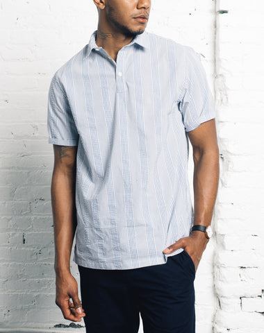 Norse Projects Theo Seersucker Shirt, Luminous Blue