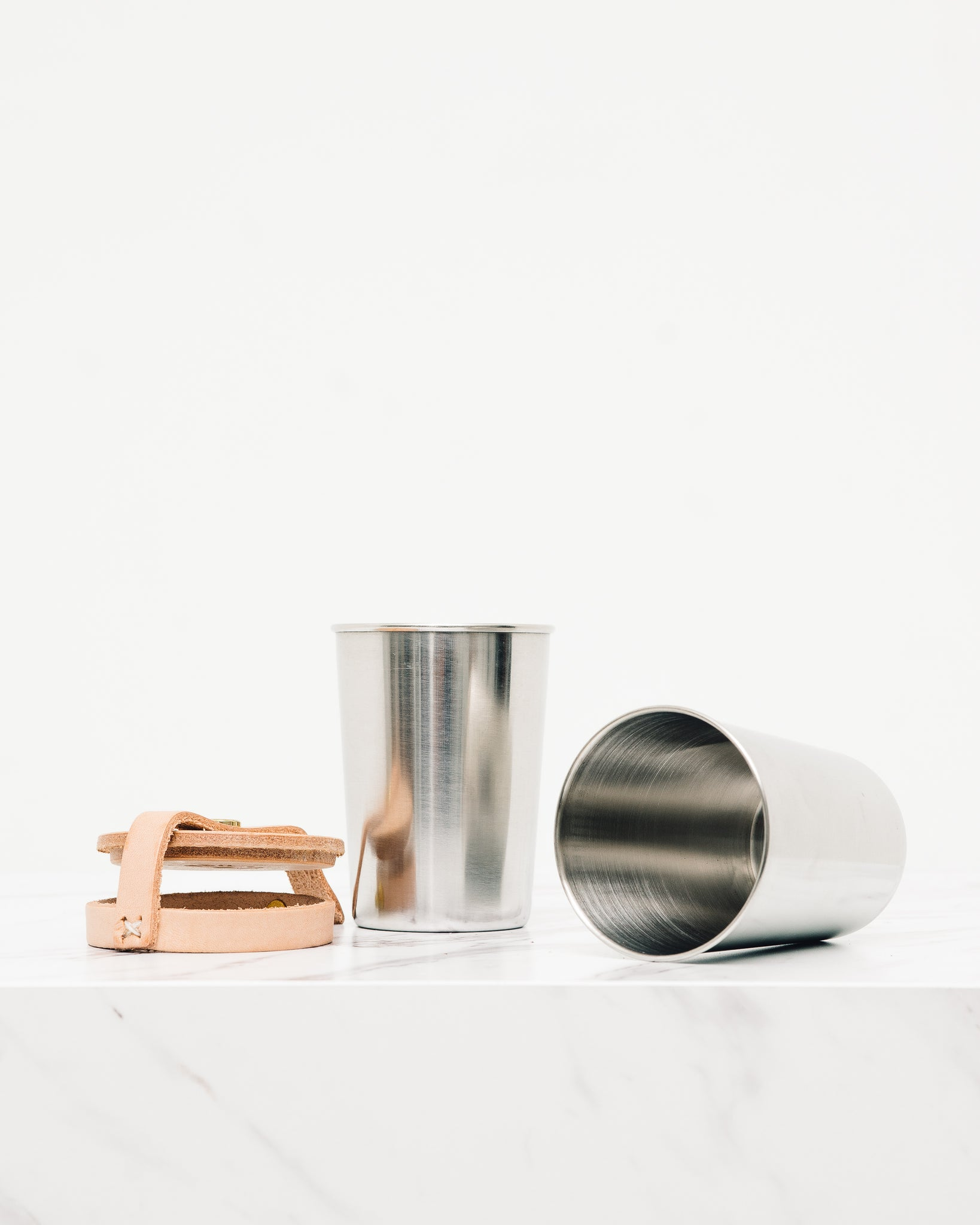 Yield Leather & Steel Cup Set