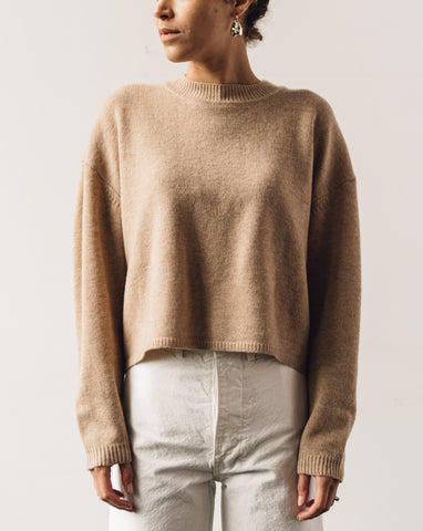 7115 Relaxed Mockneck Sweater, Tan